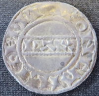 Reverse of a silver penny of King Harold II struck at Canterbury in 1066, University of Leeds, Brotherton Library, Winchester Collection, uncatalogued