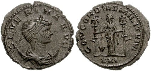 Silvered copper-alloy <i>antoninianus</i> of Empress Severina struck at Antioch in 274, CNG Coins