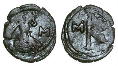 Copper-alloy 20-nummi of Constantine IV struck at Constantinople in 664-685, Barber Institute of Fine Arts B4304