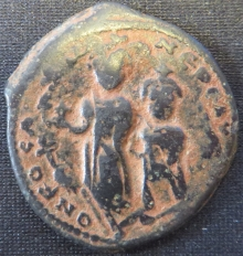 Obverse of copper-alloy 40-nummi of Heraclius overstruck at Nicomedia on one of Phocas in 613-14, University of Leeds, Brotherton Library, CC/TH/BY/318