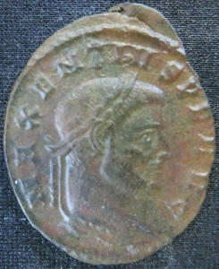 Obverse of billon nummus of Emperor Maxentius struck at Pavia in 307-308, Leeds, Brotherton Library, Thackray Collection, CC/TH/ROM/IMP/916