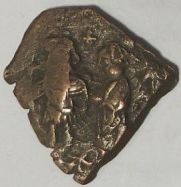 Obverse of a copper-alloy forty-nummi struck onto a cut section of an old coin at Constantinople in 635/6, Leeds, Brotherton Library, Thackray Collection, CC/TH/BYZ/58