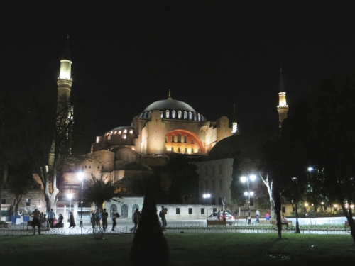 The Hagia Sofia, Istanbul, lit at night, from the Hippodrome