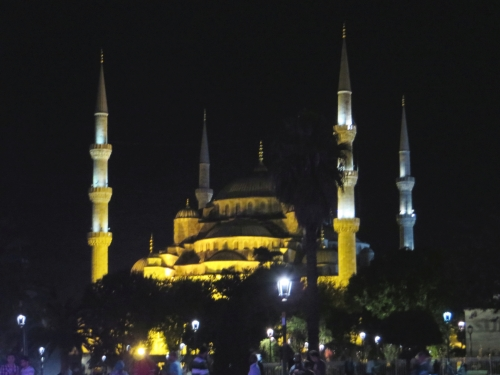 The Sultan Ahmet Mosque, Istanbul, lit at night, seen from the Hippodrome