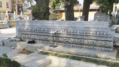 Large fragment of Roman stonework in the gardens of the Ayasofya Musezi, Istanbul