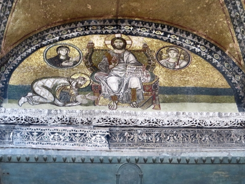 Mosaic depiction of Emperor Leo VI abasing himself before Christ in the Ayasofya Musezi, Istanbul