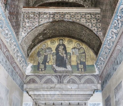 Mosaic donor portraits of Emperors Constantine I and Justinian I in the Ayasofya Musezi, Istanbul