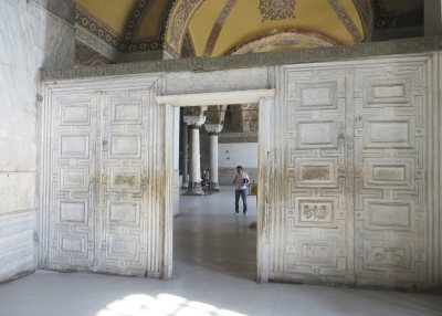 Marble gateway to the imperial gallery of the Ayasofya Musezi, Istanbul