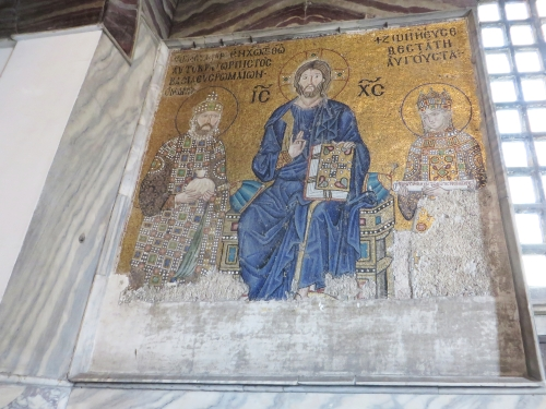 Mosaic depiction of Emperor Constantine IX Monomachos and Empress Zoe, with Christ, in the Ayasofya Musezi, Istanbul