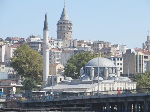 The Galata Tower and a mosque seen from the Golden Horn, Istanbul