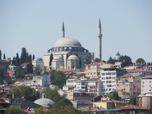 A mosque with seashore houses before it, seen from the Golden Horn, Istanbul