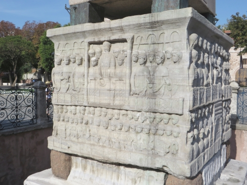 One side of the base of the Obelisk of Theodosius, Istanbul