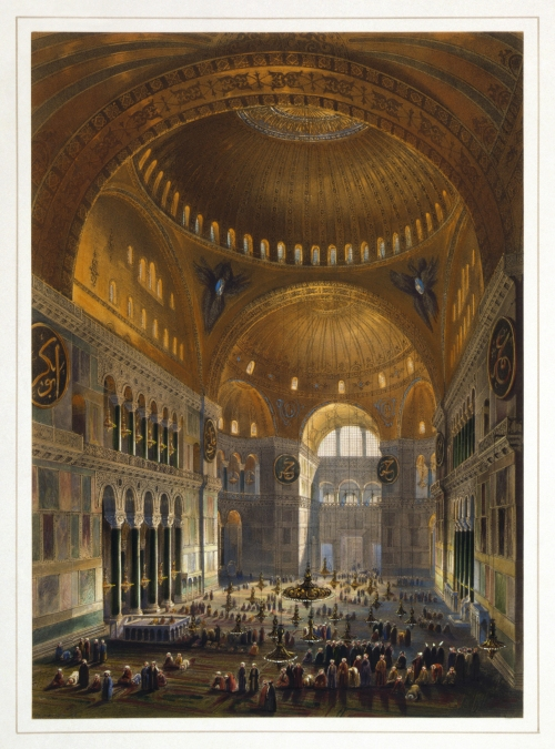 Hagia Sophia during its time as a mosque. Illustration by Gaspare Fossati and Louis Haghe from 1852
