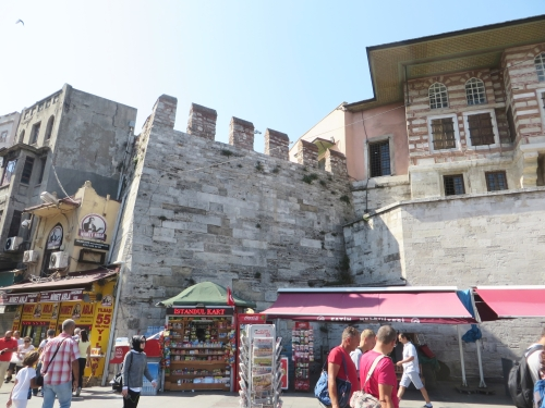 A section of the sea wall intruding out of subsequent architecture on the shoreline of the Golden Horn, Istanbul