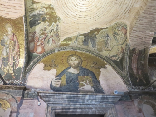 Mosaic depictions Christ Pantokrator, with the Miracle at Cana and the Multiplication of Loaves above Him, in the Chora Museum in Istanbul