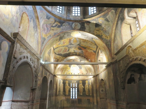 View into the parekklesion from the shop in the Chora Museum, Istanbul