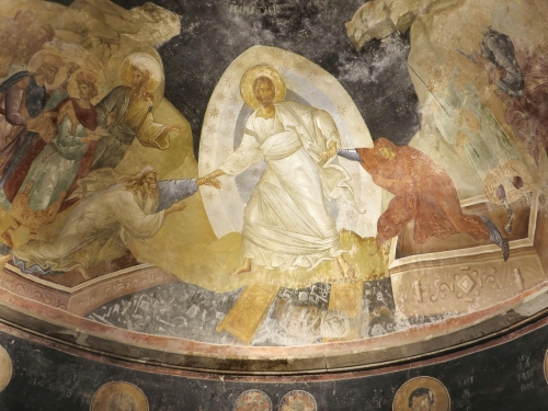 Fresco depiction of the Resurrection of Christ, in the apse of the parekklesion of the Chora Museum, Istanbul