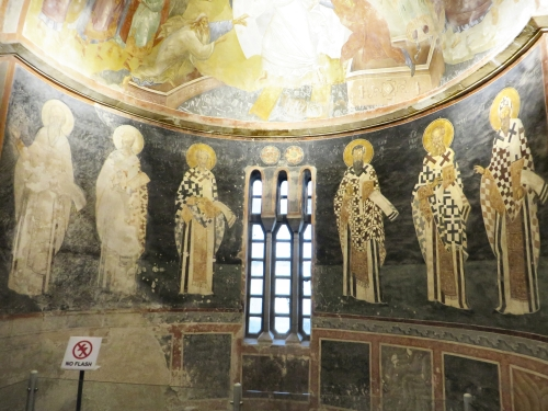 Fresco depiction of an array of patriarchs and bishops in the apse of the parekklesion of the Chora Museum, Istanbul