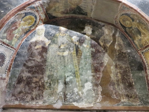 Fresco paintings of four unidentified figures from a burial recess in the parekklesion of the Chora Museum, Istanbul