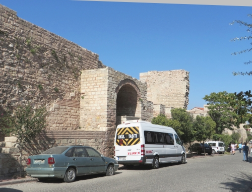 Partly restored postern in the Byzantine land walls, Istanbul