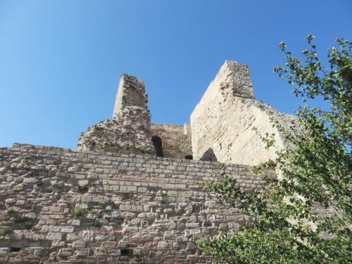 View of the inside of a ruined tower on the Byzantine land walls of Constantinople, Istanbul