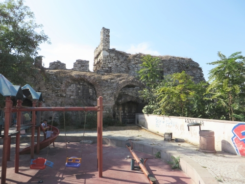 Recreation ground built between inner and outer Byzantine land walls, Istanbul