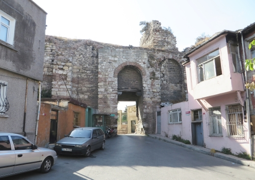 Road pushed through a postern in the Byzantine land walls, Istanbul