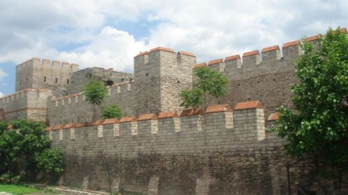Restored section of the Byzantine walls of Istanbul
