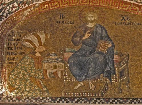 Mosaic depiction of Theodore Metokphites presenting the Chora Church to Christ, Chora Museum, Istanbul