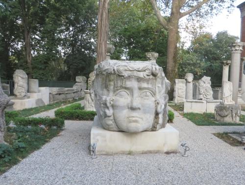 Sculpture of a Medusa's head outside the İstanbul Arkeoloji Müzeleri