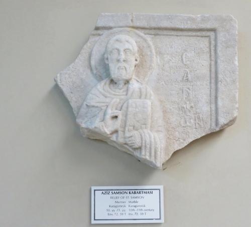 Sculptural depiction of St Samson in the İstanbul Arkeoloji Müzeleri