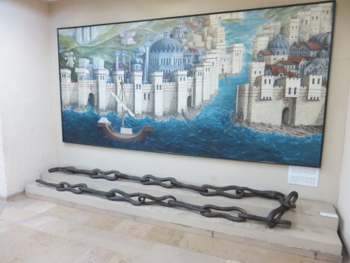 Piece of the defensive chain from the Byzantine harbour of Constantinople, on display in the İstanbul Arkeoloji Müzeleri