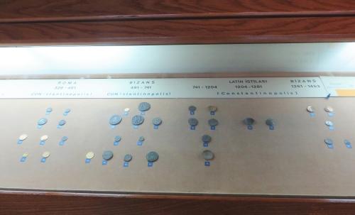 Byzantine coins on display in the İstanbul Arkeoloji Müzeleri