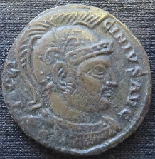 Obverse of a copper-alloy coin of Emperor Licinius I struck at Siscia in 320, Leeds, Brotherton Library, CC/TH/ROM/IMP/0650