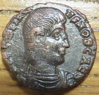 Obverse of a copper-alloy coin of Emperor Julian II struck at Thessaloniki in 355-361, Leeds, Brotherton Library, CC/TH/ROM/IMP/0780