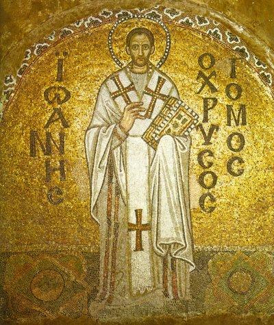 Mosaic depiction of Patriarch John Chrysostomos of Constantinople in the Ayasofya Musezi, Istanbul