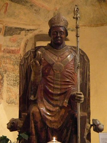 Medieval statue of Saint Zeno of Verona, from Wikimedia Commons