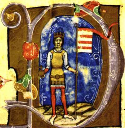 Manuscript illumination showing King Bela III of Hungary