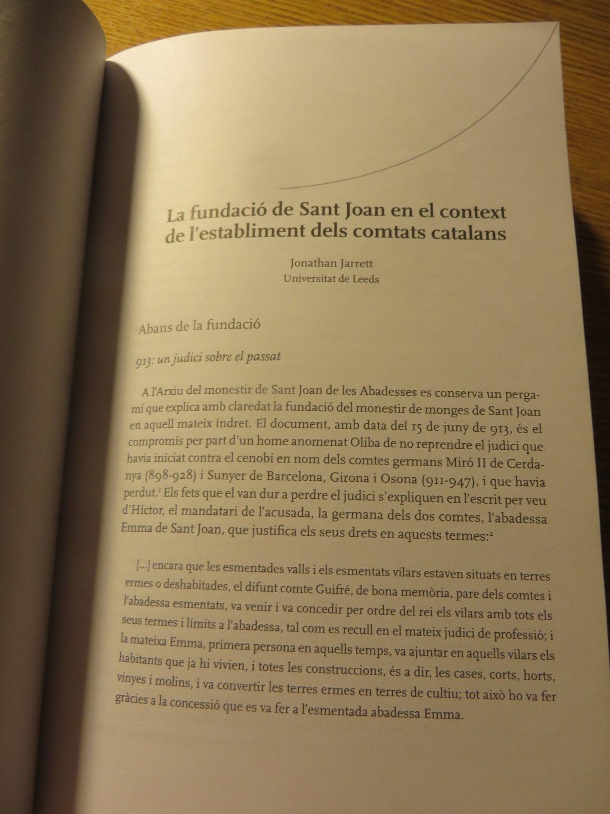 """Title page of Jonathan Jarrett, """"La fundació de Sant Joan en el context de l'establiment dels comtats catalans"""", in Brugués, Boada & Costa, El monestir de Sant Joan, pp. 83-107"""