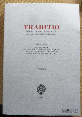Cover of Traditio volume 74 for 2019