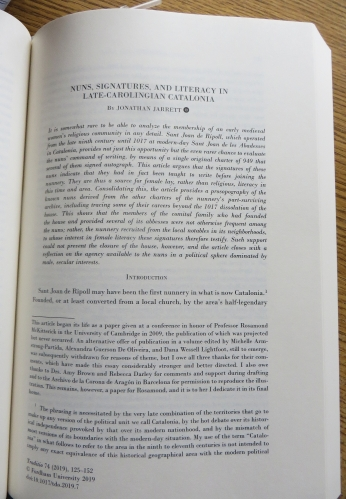 """First page of Jonathan Jarrett, """"Nuns, Signatures, and Literacy in late-Carolingian Catalonia"""" in Traditio Vol. 74 (Cambridge 2019), pp. 125–152"""