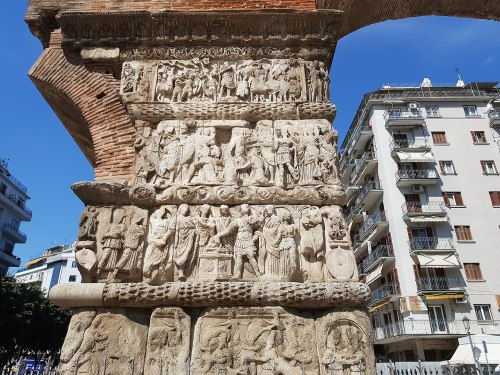 The four tetrarchs sacrificing together, on the Arch of Galerius, Thessaloniki