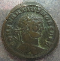 Obverse of billon nummus of Emperor Constantius I struck at Rome in 296-297, Leeds, Brotherton Library, CC/TH/ROM/IMP/0885