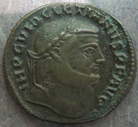 Obverse of billon nummus of Emperor Diocletian struck at Antioch in 300-301, Leeds, Brotherton Library, CC/TH/ROM/IMP/0972