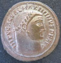 Obverse of billon nummus of Emperor Galerius struck at Alexandria in 308-310, Leeds, Brotherton Library, uncatalogued
