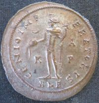 Reverse of billon nummus of Emperor Galerius struck at Alexandria in 308-310, Leeds, Brotherton Library, uncatalogued