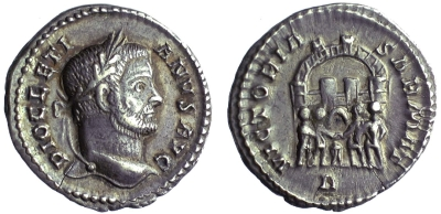 Silver argenteus of Emperor Diocletian struck at Trier in 289-300, Birmingham, Barber Institute of Fine Arts, R2529
