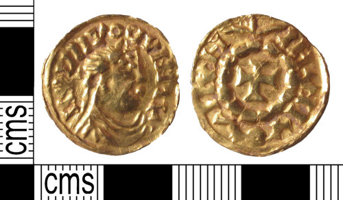 Anglo-Frisian imitation of a gold solidus of Emperor Louis the Pious found in Aldingbourn area, Sussex, UK, Portable Antiquities Scheme SUSS-2A93DC