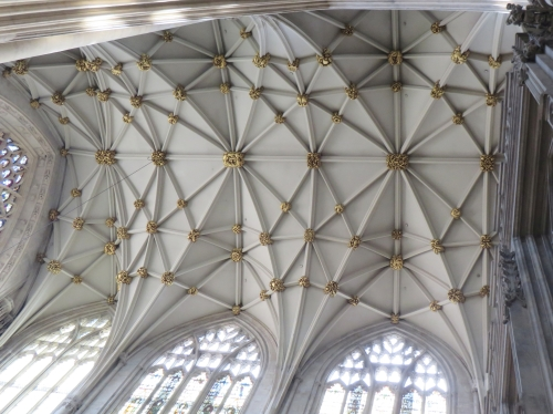 Renovated roof vaulting and bosses in the nave of York Minster