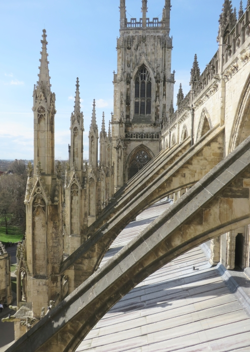 View down the nave roof of York Minster from the central tower